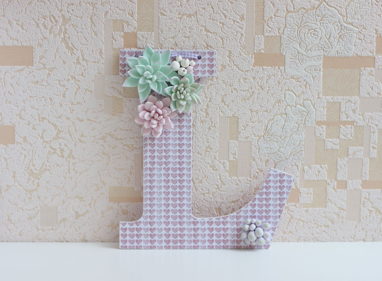 Floral Letter, Succulent Letter, Flower Letters, Wooden ...