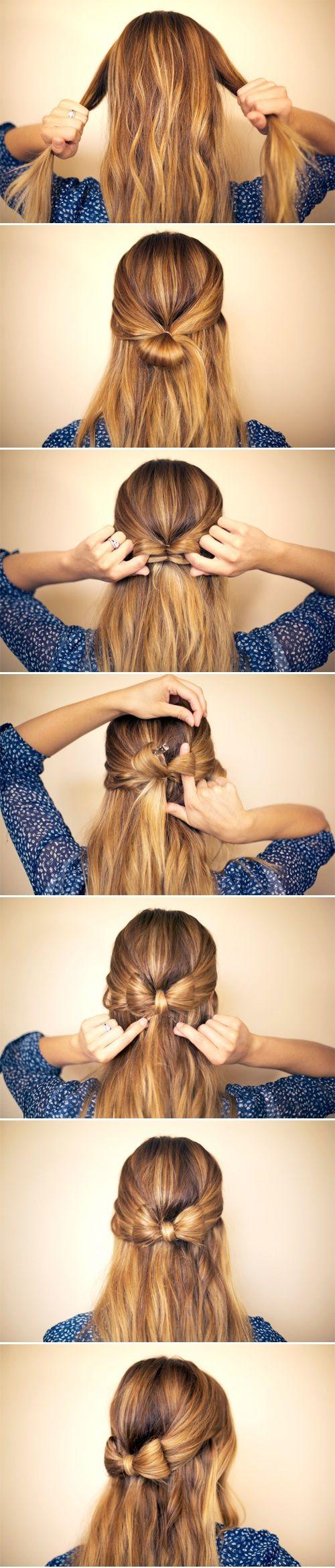 Um laço no cabelo.. com o próprio cabelo! #fofura *-*