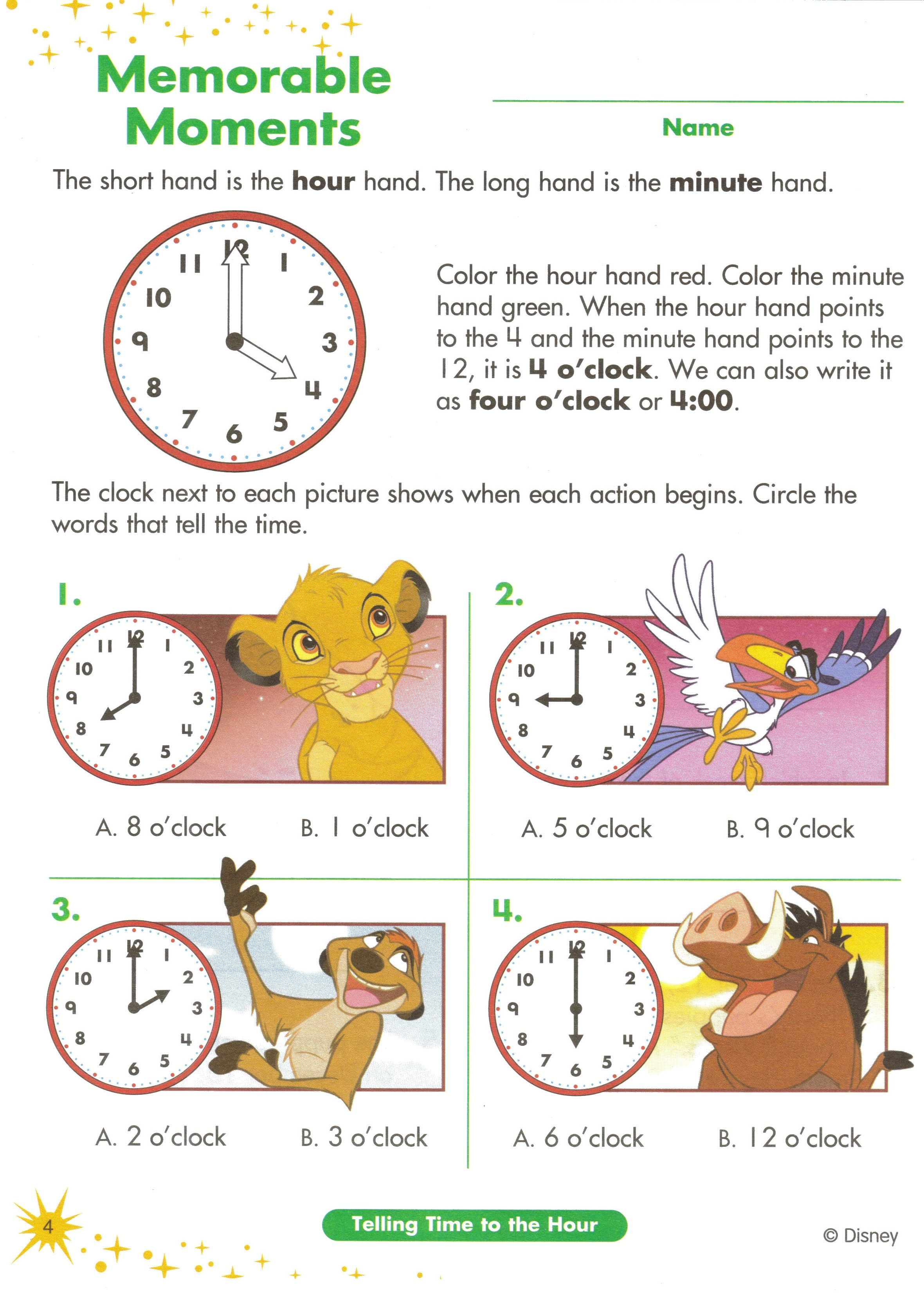 Disney Printing Magic Disney Time Homeschool Learning Worksheets – What Time is It Worksheet