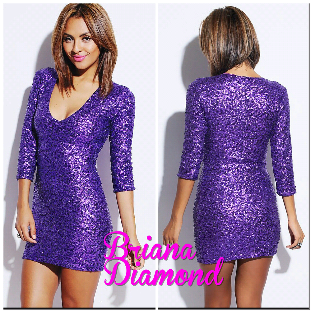 purple sequin low cut quarter sleeve fitted sequin party mini dress ...