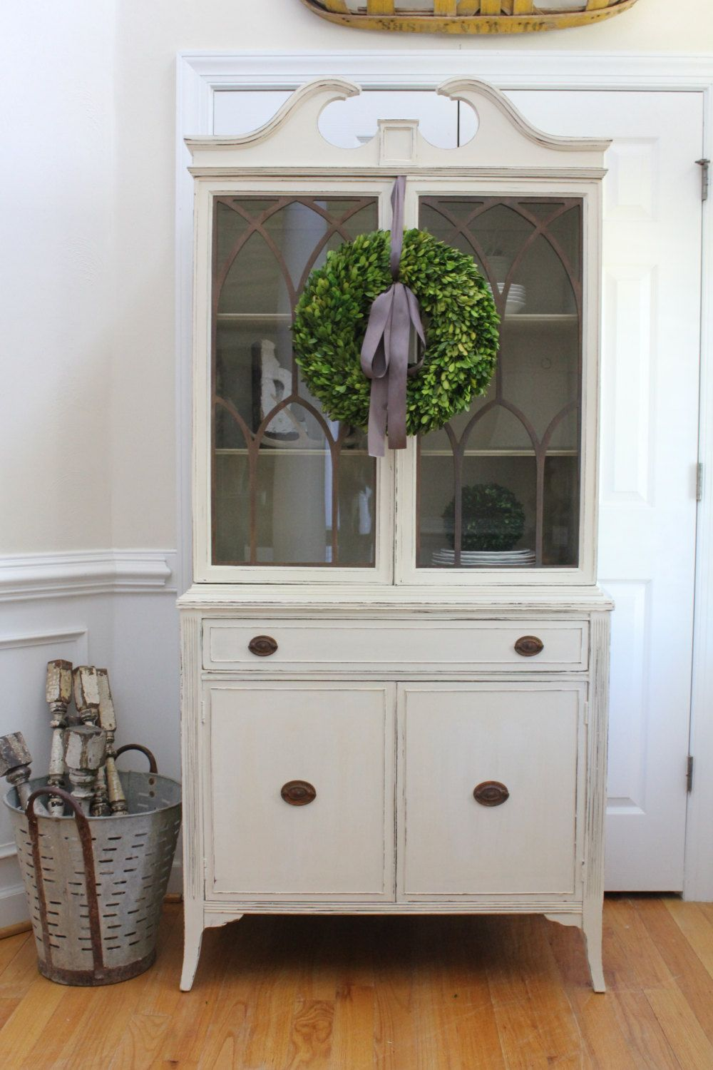 cabinet country white vintage paint pin annie sloan bookcase old grey china hutch chalk curio
