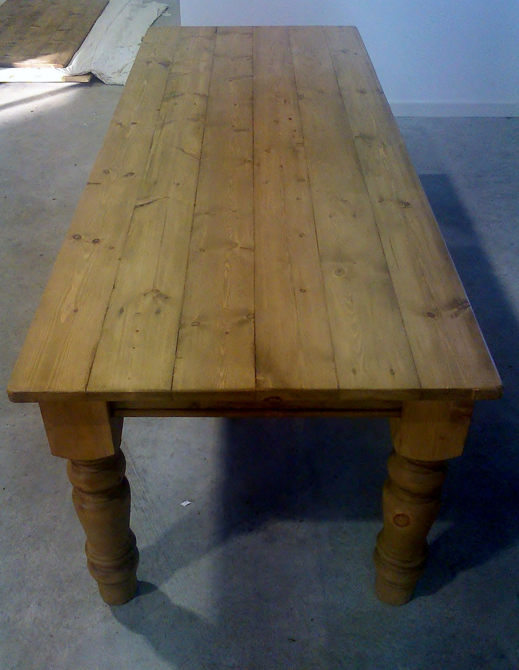 Plank Top Reclaimed Pine Farmhouse Table 8ft X 3ft Waxed On 5inch Turned  Legs.