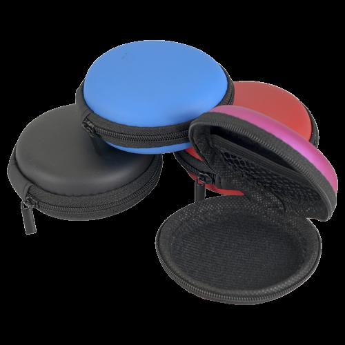 Kopfhörer-Tasche rund 8x8cm ver.Farben
