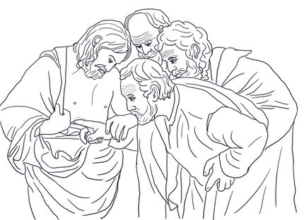 Doubting Thomas Coloring Page Coloring Pages Bible Coloring