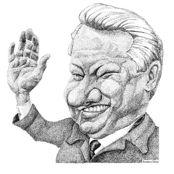 caricature of boris yeltsin in stipple done by andrew david