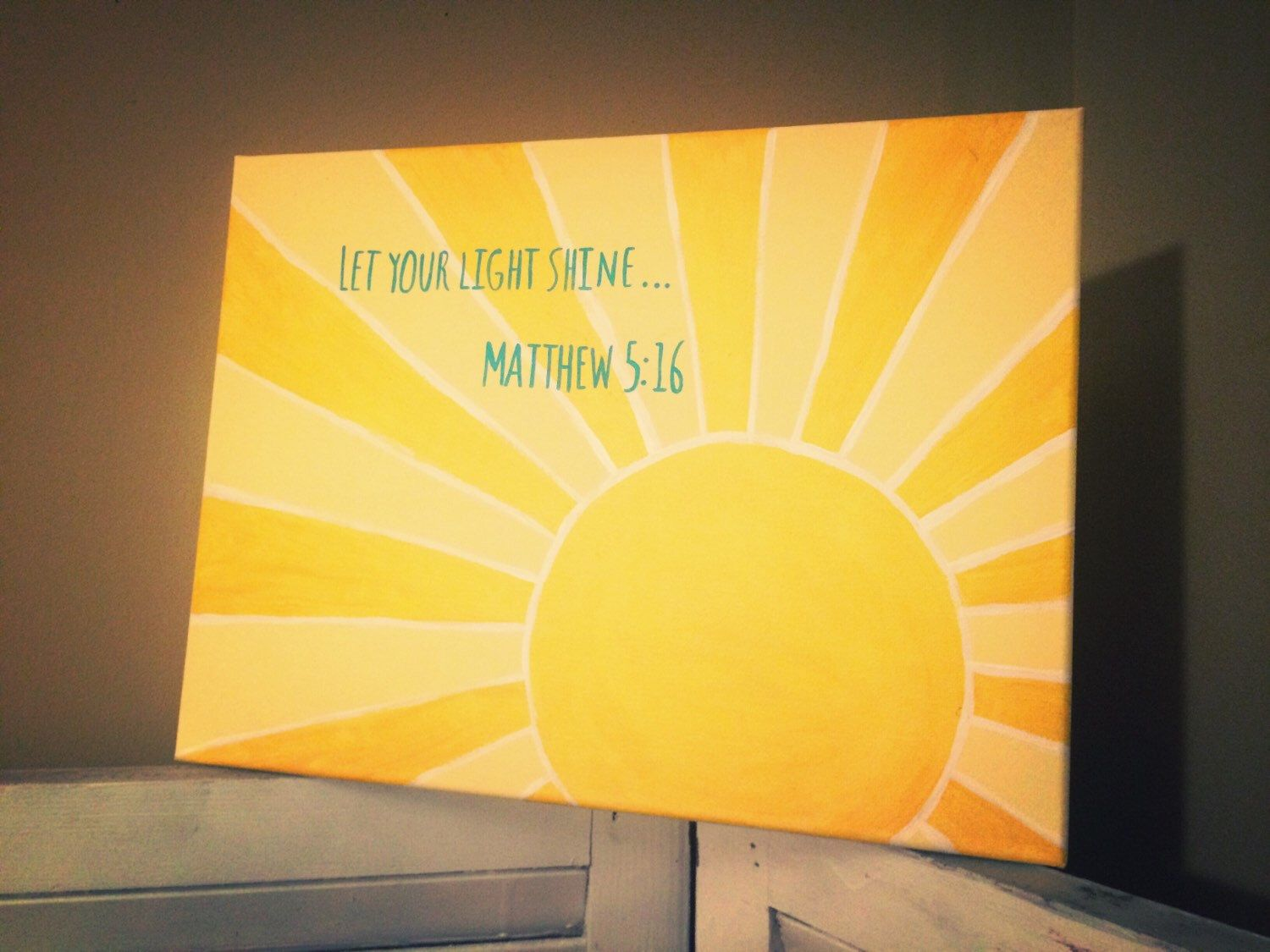 A personal favorite from my Etsy shop https://www.etsy.com/listing/229126910/matthew-516-let-your-light-shine-canvas