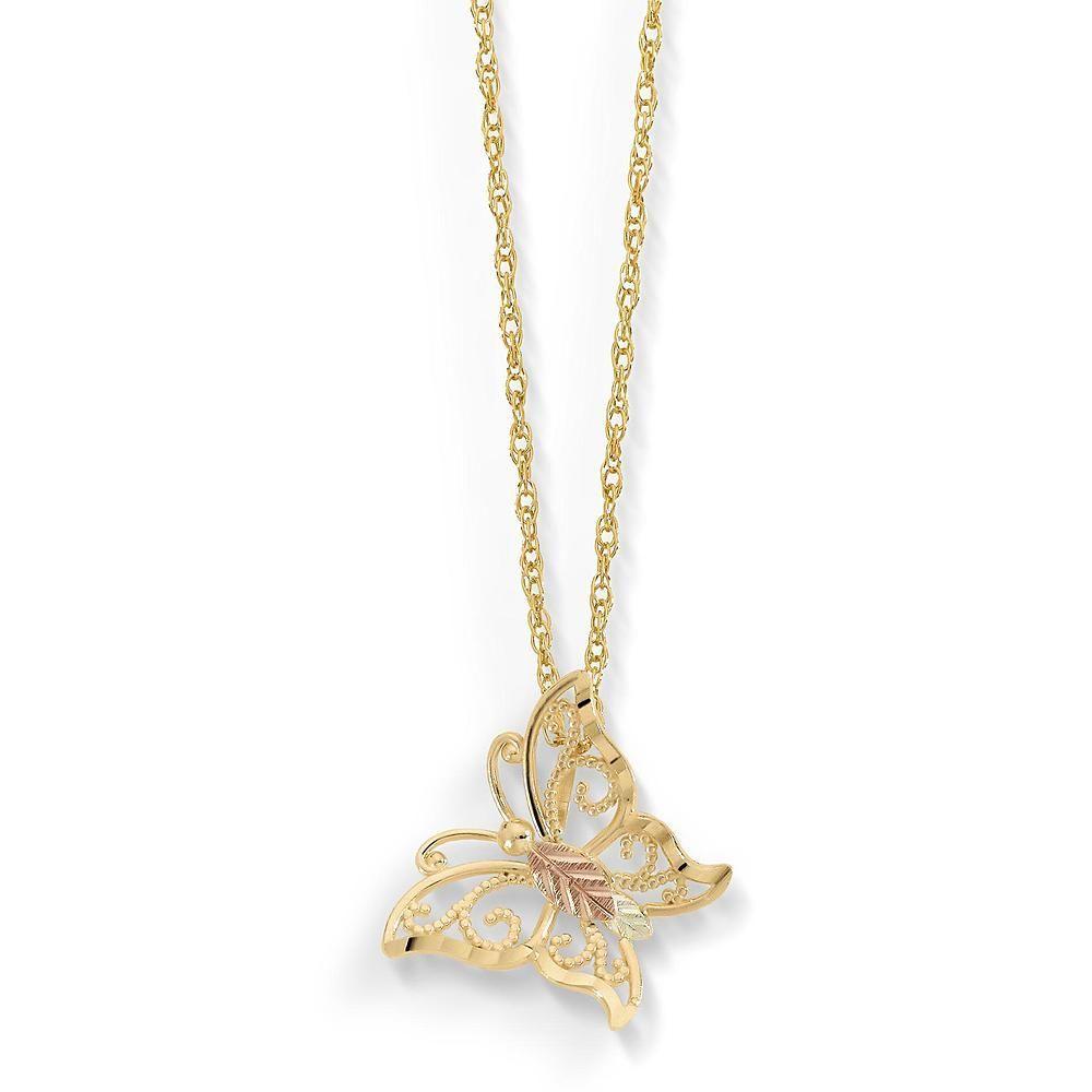 21777097ee237 black hills gold necklace Black Hills Gold Tricolor 10K Butterfly ...