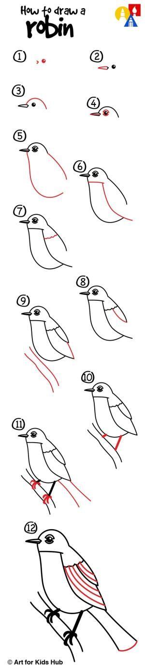 How to draw a robin bird! by esmeralda   Step by Step ...