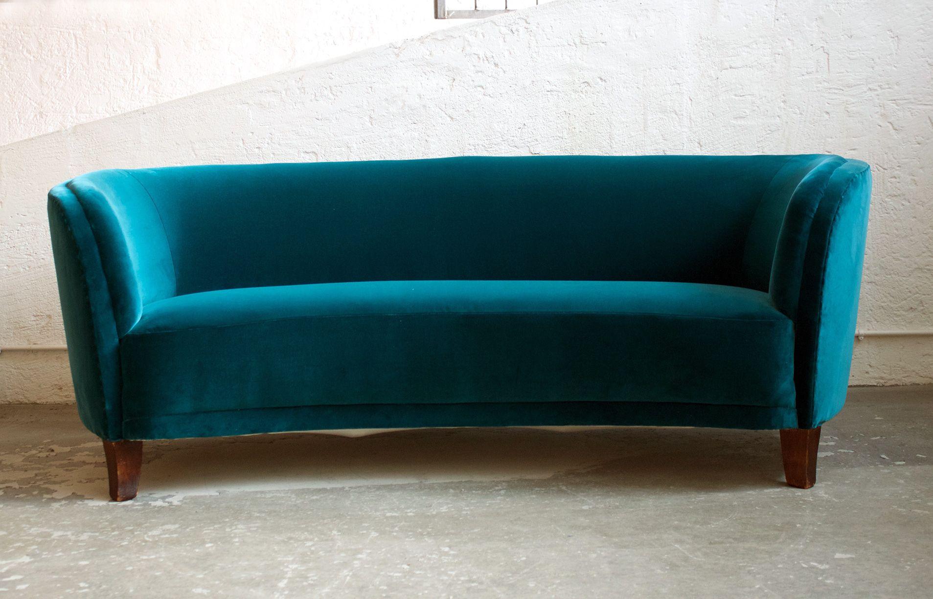 Swedish Modern Velvet Sofa Petrol green Vintage Sofa