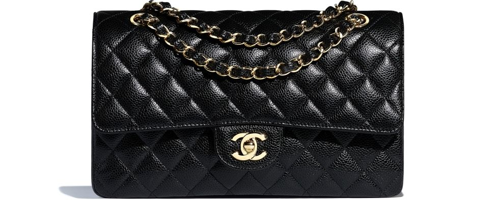8d021ff41b4 Grained Calfskin & Gold-Tone Metal Black Small Classic Handbag | Final  Purses | Classic handbags, Chanel classic flap, Black leather handbags