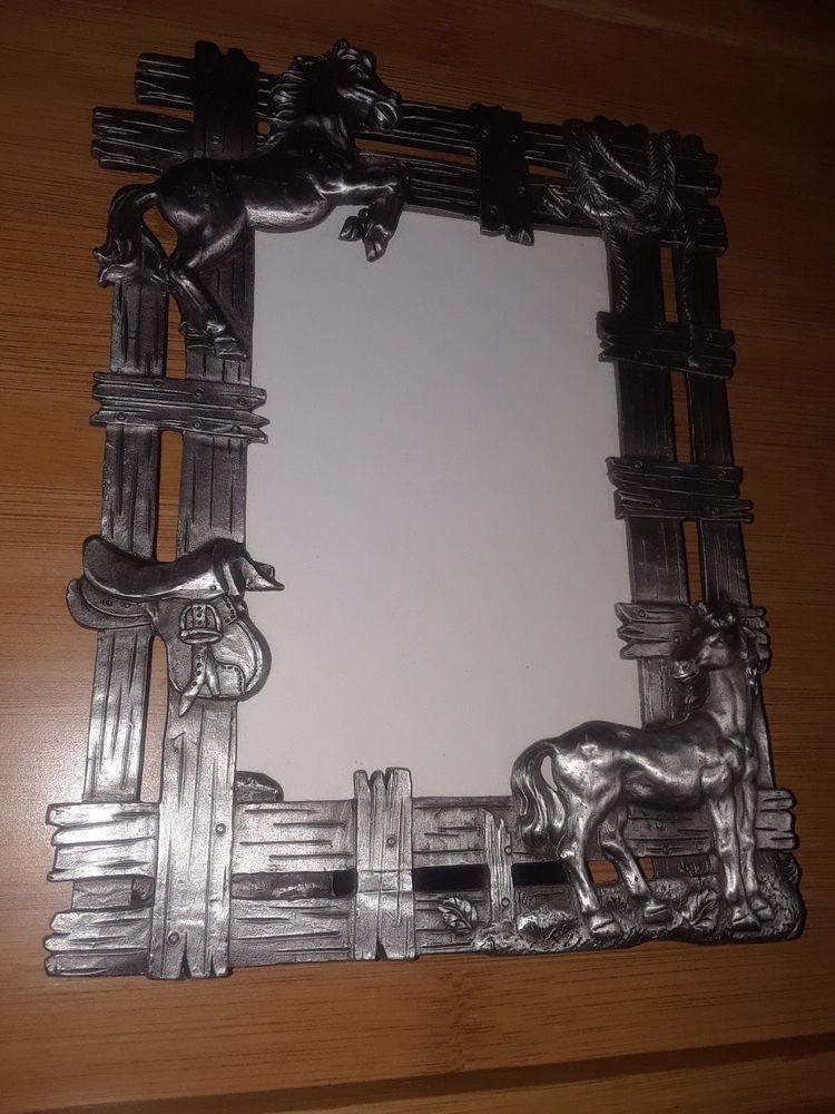 Decorative Metal Picture Frame With Fence Horses English Saddle