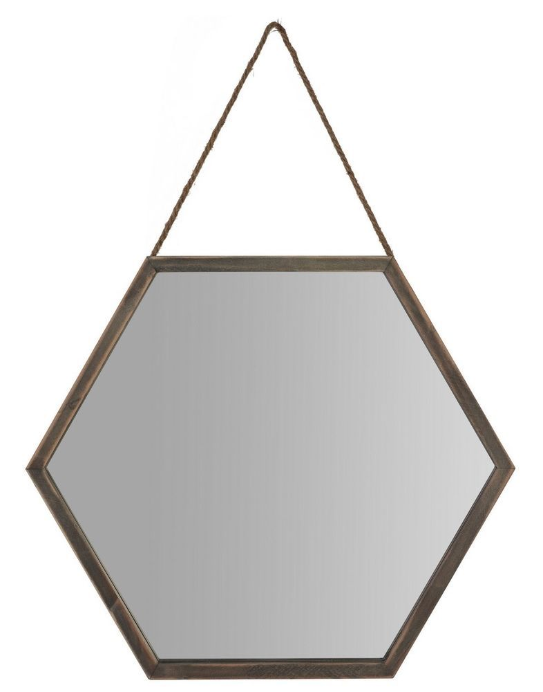 Hanging Framed Bathroom Mirrors new rustic distressed nautical wood wooden hexagon wall mirror
