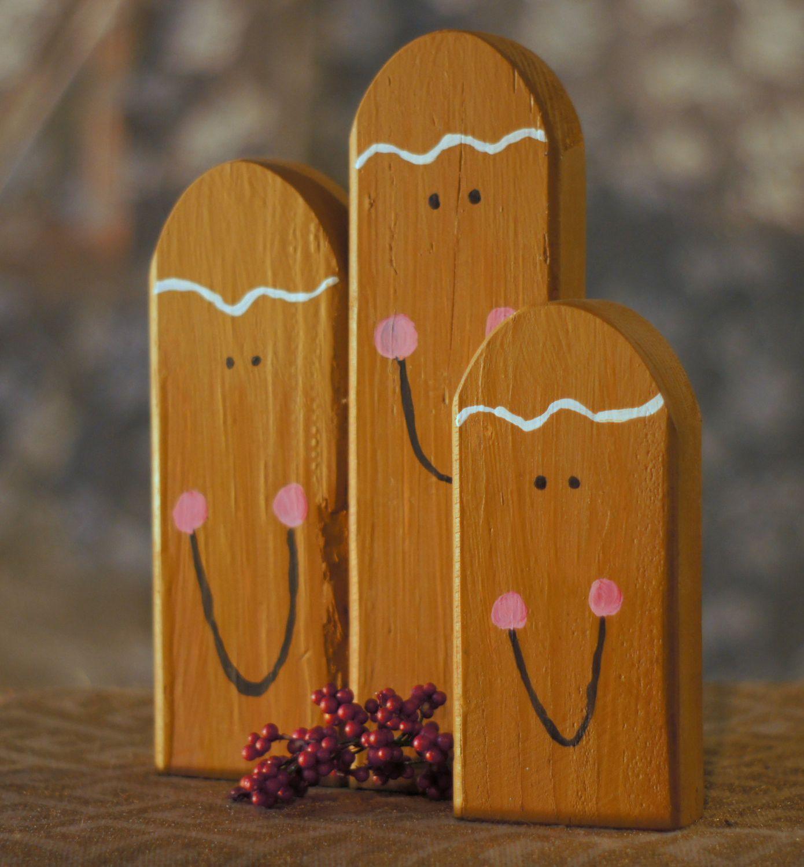 Set Of Three Reclaimed Wood Gingerbread Men Rustic Primitive