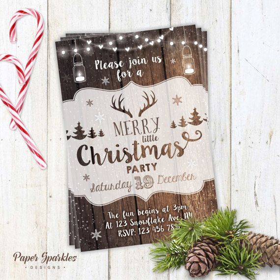 Holiday parties at home nol ides pour nol et pinterest christmas party invitation rustic christmas invite mason jar invitation deer stopboris Gallery