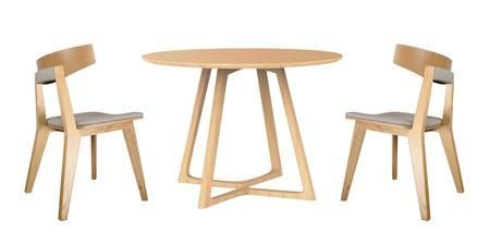 IN2SET1 Malmo Ashtree 3-Piece Round Dining Set with Round Dining Table and 2 Chairs in Light Brown