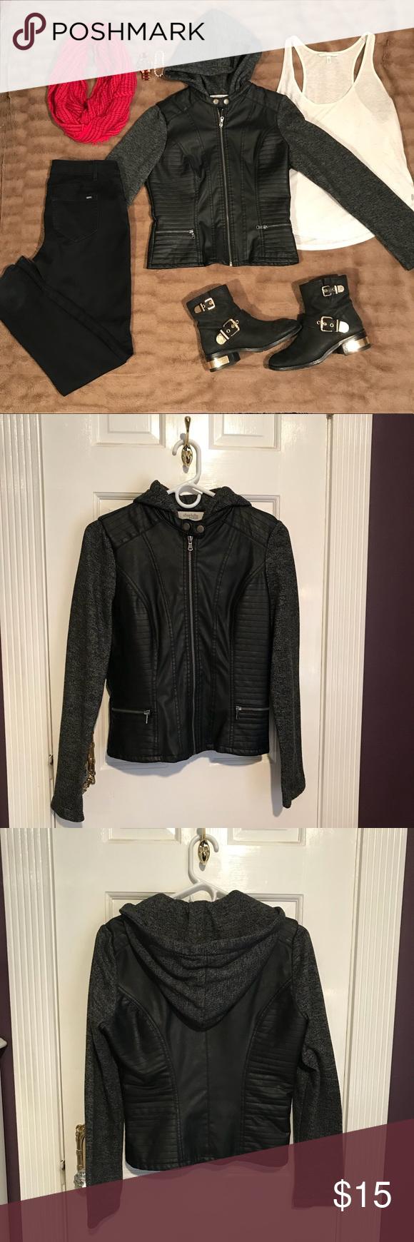 Hooded Jacket Faux Leather Sweatshirt Jacket Fashion Leather Sweatshirt Clothes Design [ 1740 x 580 Pixel ]