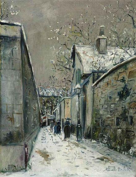 Maurice Utrillo, La maison de chaume sous la neige, rue Saint