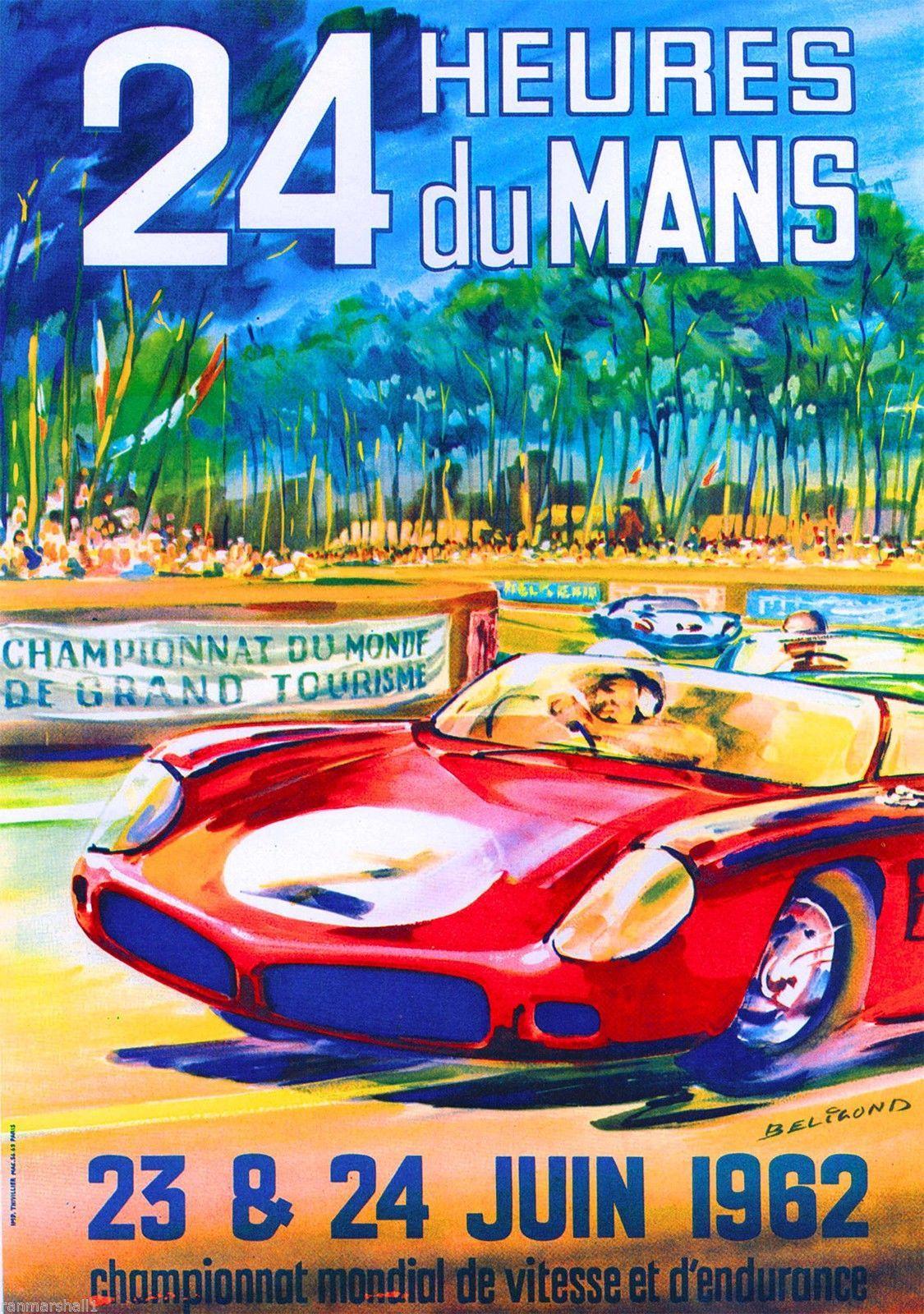 1962 24 Hours Le Mans French Automobile Race Advertisement Vintage Poster | eBay