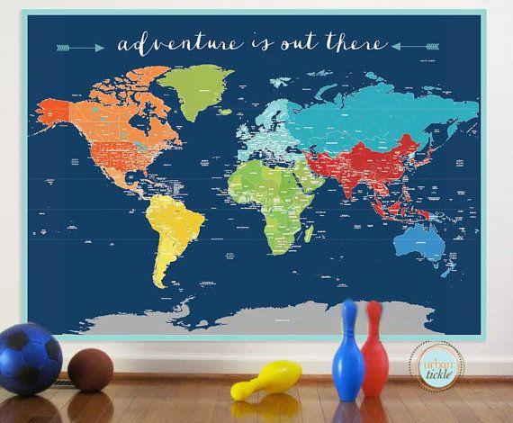 World Map Sticker For Baby Boy Nurseries From Danadecals - World map boys room