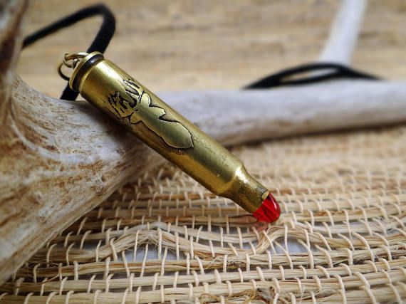 Etched bullet pendant Wildlife etched bullet Etched deer