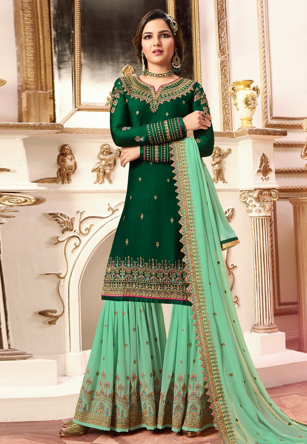 d9d40611eb Buy Green Satin Sharara Suit 164299 online at lowest price from huge  collection of salwar kameez at Indianclothstore.com.
