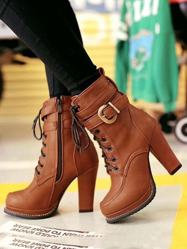76c7f06ccdc New Brown Round Toe Chunky Buckle Cross Strap Fashion Ankle Boots in ...