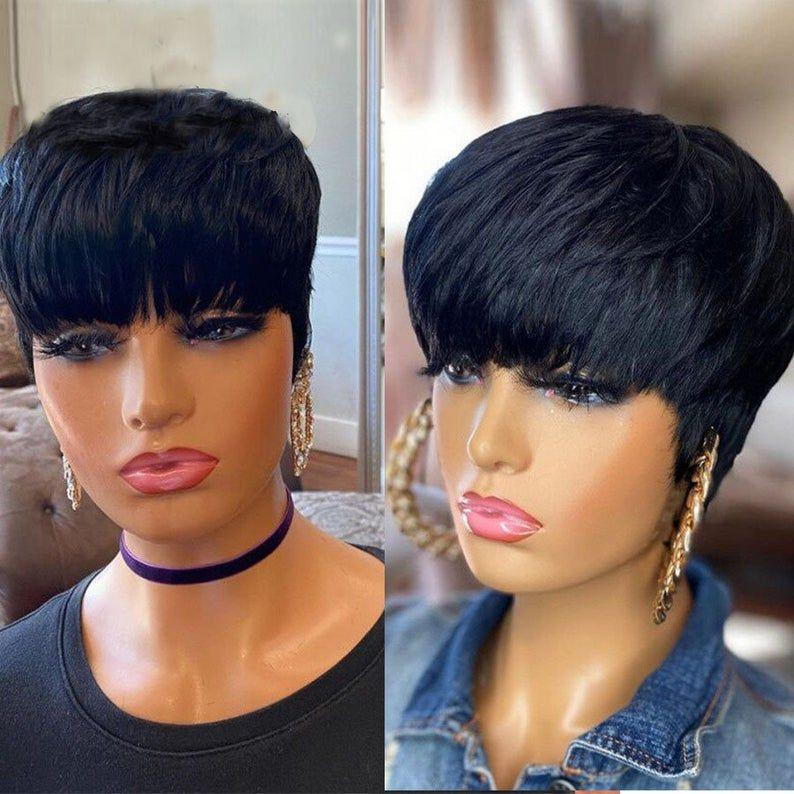 Short Pixie Cut Straight Hair Wig, Peruvian Remy H
