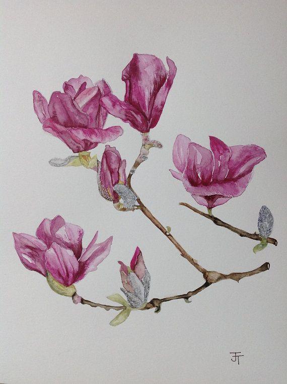 Original Watercolour Painting Pink Magnolia Watercolour Flowers Wall Art Wall Decor Flower Painting Magnolia Flow Flower Drawing Flower Painting Botanical Art