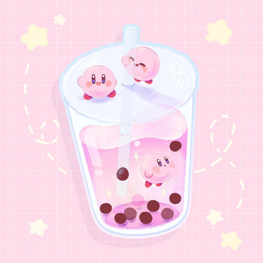 Kawaii Kirby Bubble Tea Sticker Mushimoo Cute Kawaii Drawings Kawaii Wallpaper Kawaii Doodles