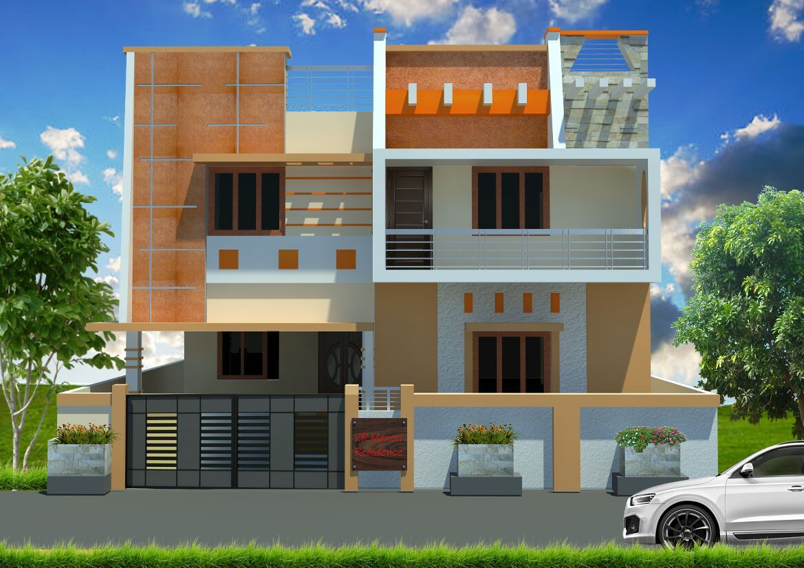House Front Elevation Colours : Orange n peach combo exterior colour combinations in