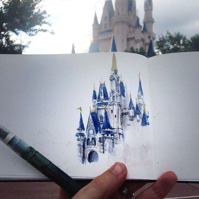 Sketch Of Cinderellas Castle In The Magic Kindgom Marc Evan