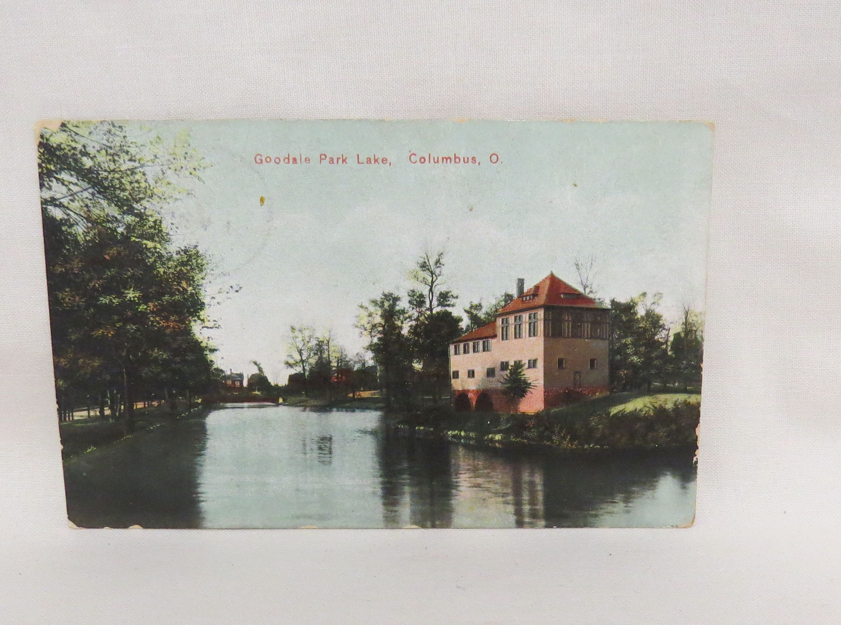 Antique Postcard Goodale Park Lake Columbus Ohio Grist