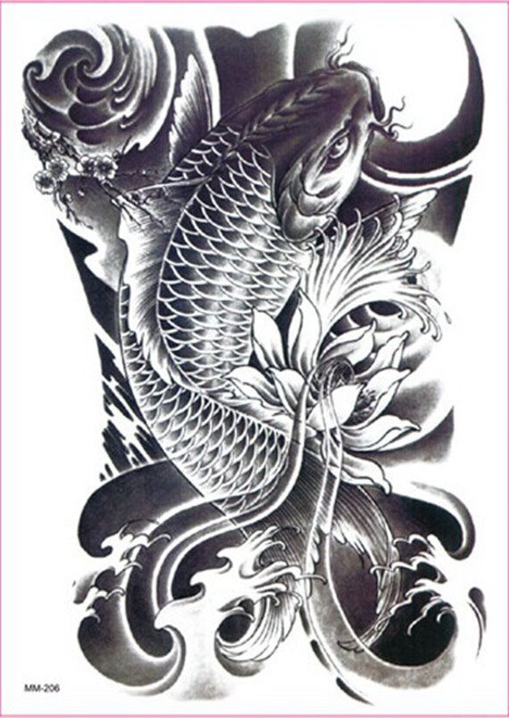 Carp Cyprinoid Fish Lotus Flowers Large Temporary Tattoos For Arms Legs Waterproof Tatoo Sticker Women Men Size 150 Tatouage Carpe Tatouage Tatouage Carpe Koi