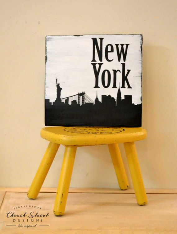 New York City Decor - Customize with Numerous Cities from Around the World - City Skyline Art - Silhouette Art - Gallery Wall - Travel Decor - Black and White Art - Travel Gift - Coffee Shop Decor - Home Decor