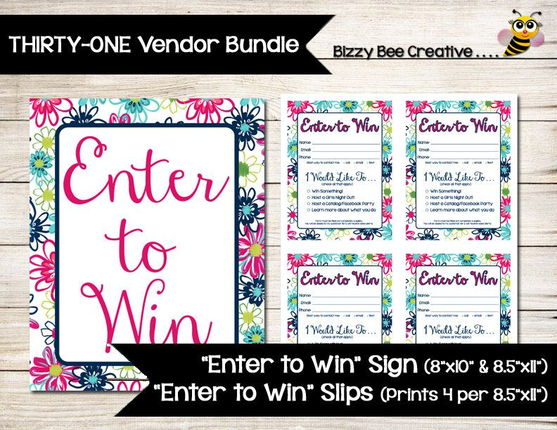 ThirtyOne  Enter To Win  Sign  Door Prize  Drawing Slip