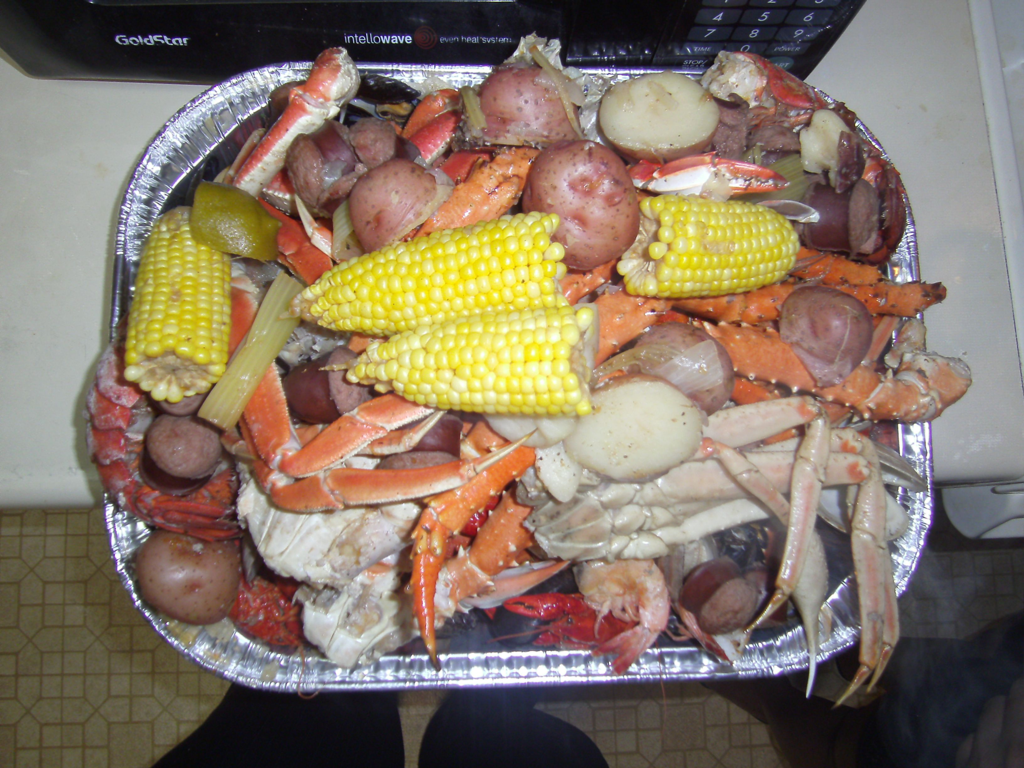My Version Of A New England Clam Bake Blue Crabs, Snow Crab Legs,
