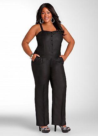 aa3e21a0f0ba Button Down Linen Jumpsuit- Ashley Stewart Plus Size  UNIQUE WOMENS FASHION