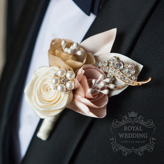 Fabric Rose Gold Wedding Boutonniere Grooms Accessories Jewelry Pink Decor Groomsman Keepsake Brooch Bouquet Wedding Boutonniere #fantasticweddingbouquets