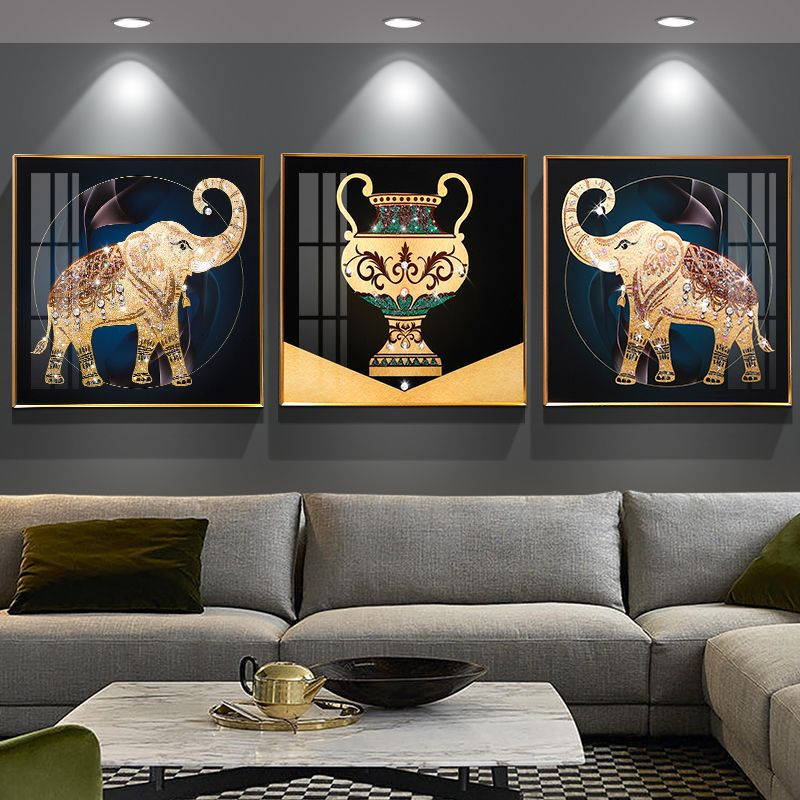 Living Room Decorative Painting 3d Embossed Hanging Painting Southeast Asian Style Auspicious Elephant Decor Wall Painting Decorative Painting Elephant decor for living room