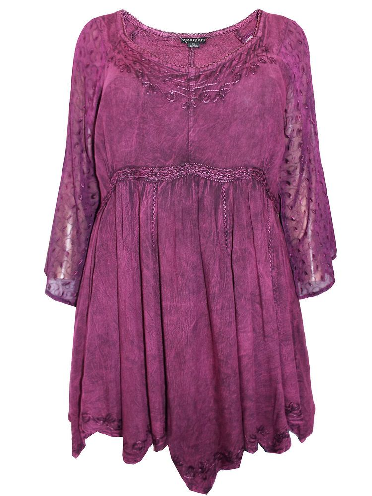 ece444b06dd Womens plus size 26 28 30 32 Top embroidered lace romantic tunic Burgundy    plum