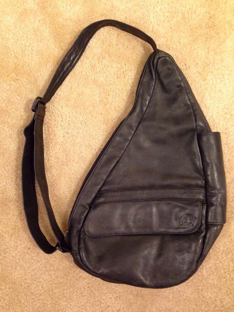 Ll Bean Charcoal Black Leather Ameribag Healthy Back Sling Bag Purse Usa Shoulderbagsling