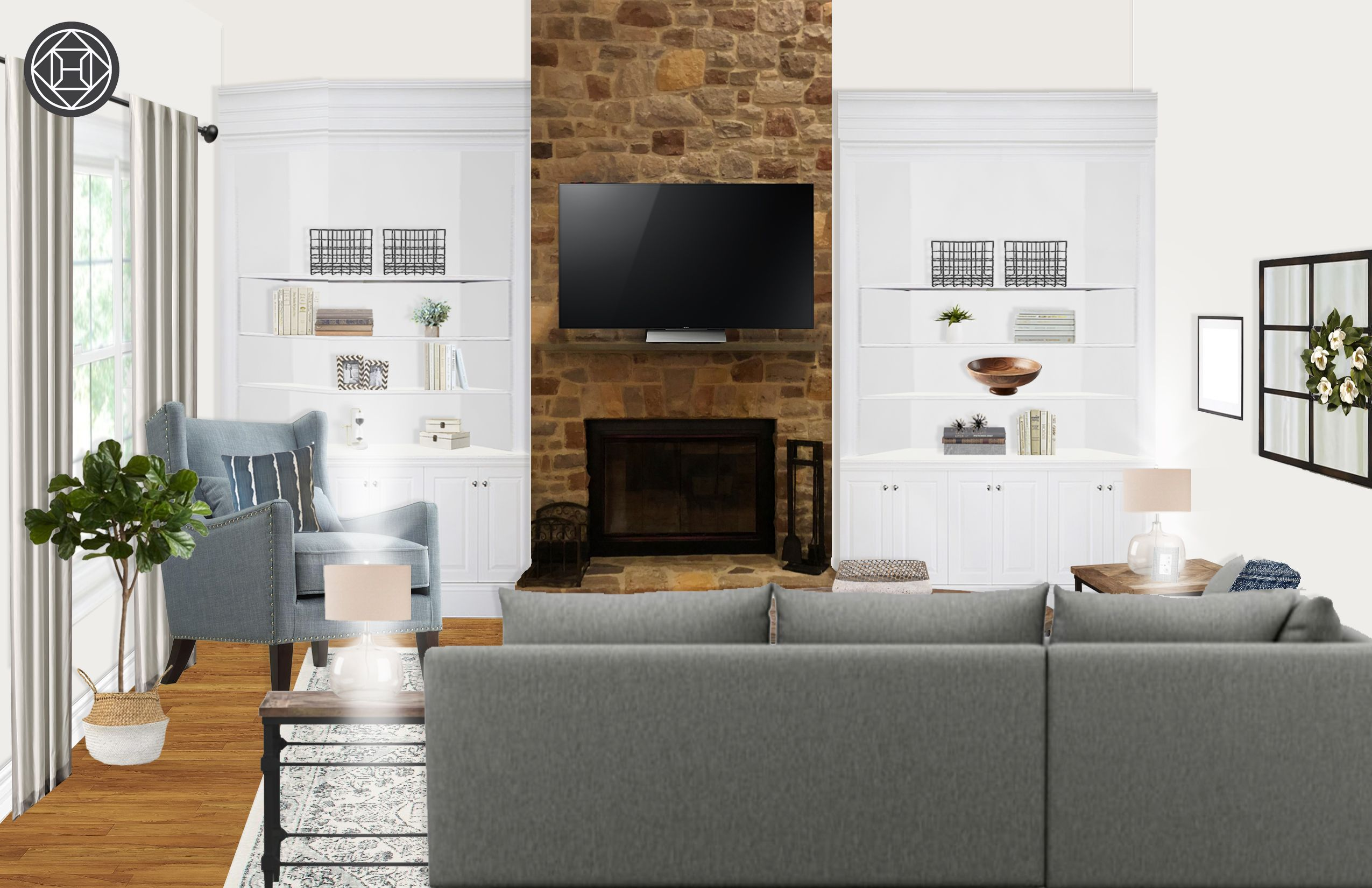 Classic farmhouse transitional midcentury modern living