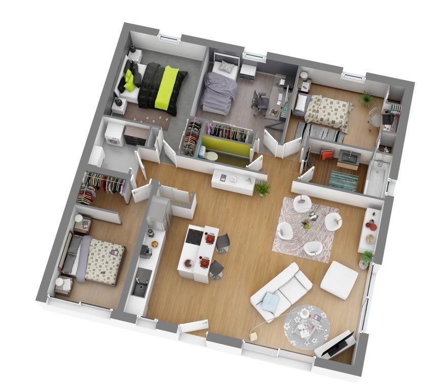 Modèles et plans de maisons \u003e Modèle de plain-pied Ligne Soléa