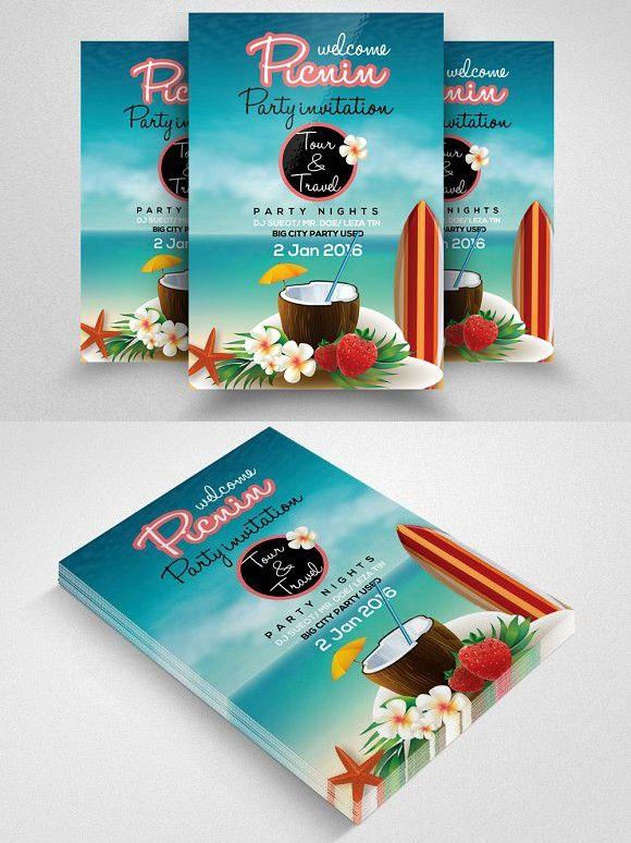 Picnic Party Invitation Flyer  Romantic Fonts Romantic Fonts