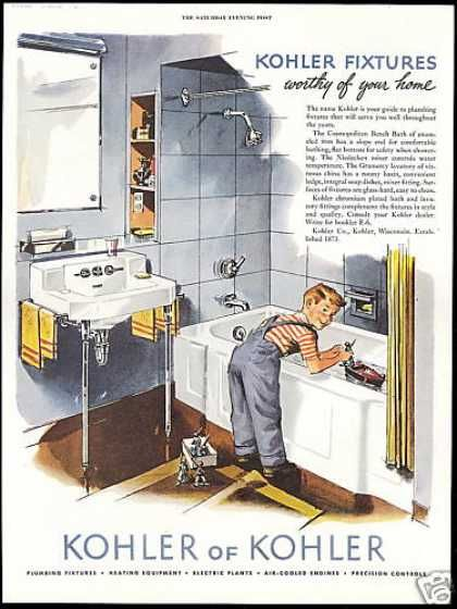 1950s bathroom | Kohler Bathroom Plumbing Fixture Boy Tub (1952 ...