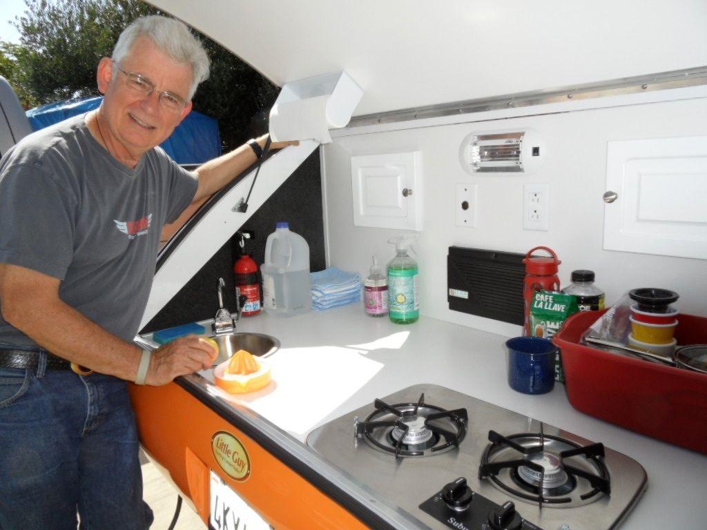 My teardrop trailer teardrop trailer camping and tiny for Teardrop camper kitchen ideas