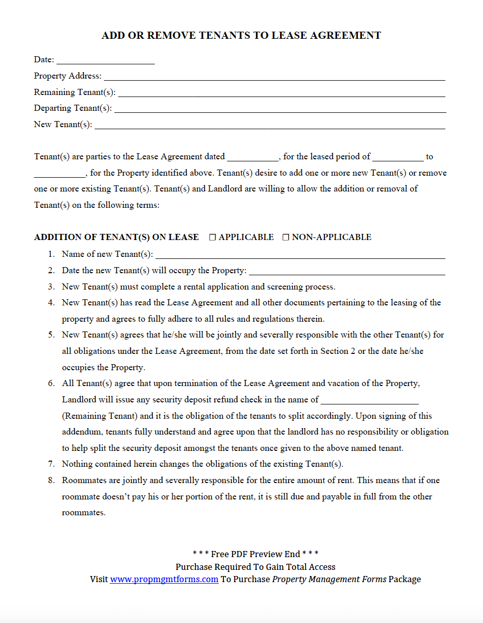Add Or Remove Tenants To Lease Agreement Pdf  Property Management