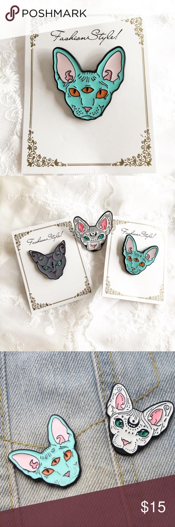 Three Eyed Sphynx Cat Lapel Pin Brooch in 2020 Lapel