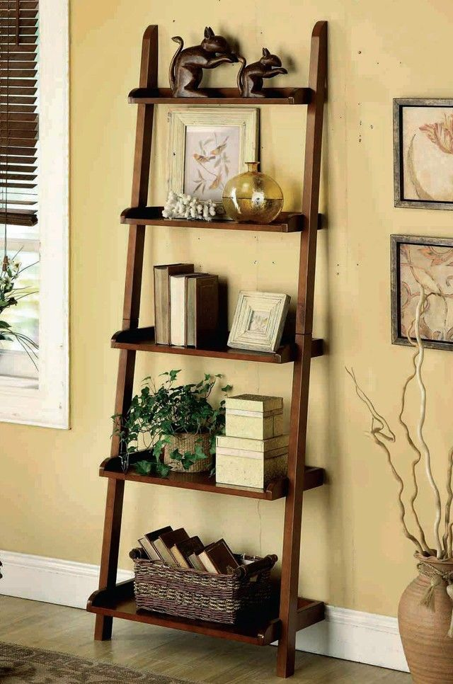 5 Tier Leaning Shelf Espresso Color Solid Wood