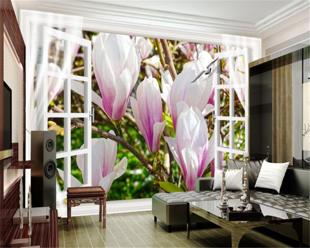 3D Wallpaper For Home Beibehang Window Background Flowers 3D Wallpapers Photos Home